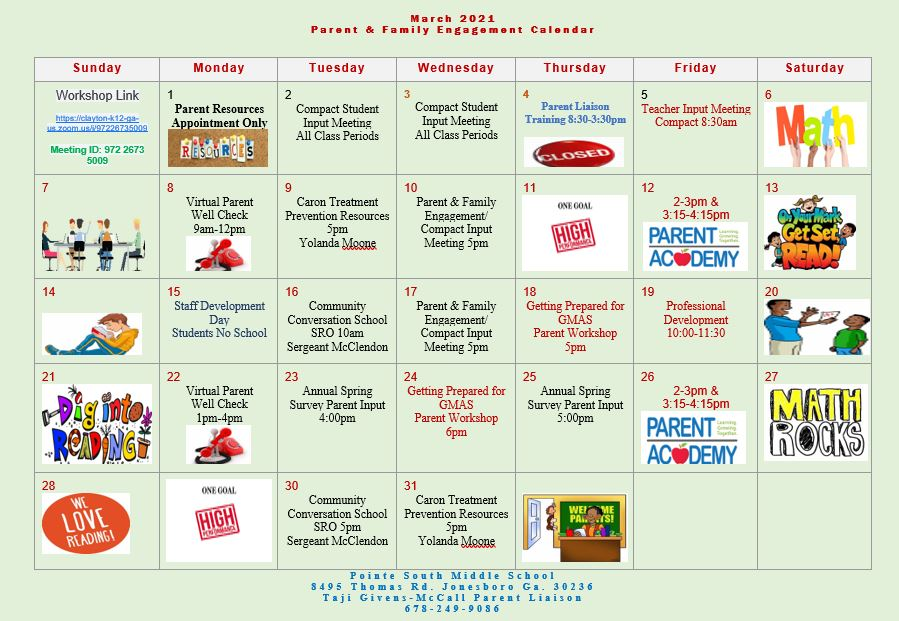 March Parent and Family Engagement Calendar