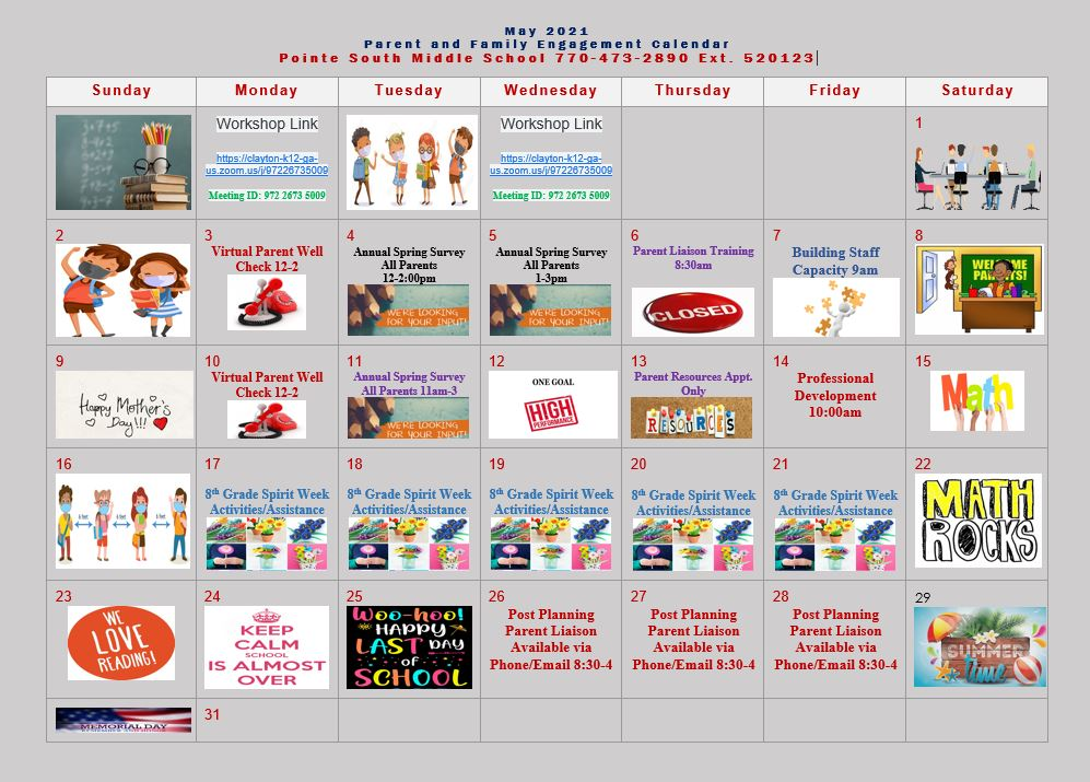 May PAFE Calendar